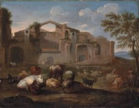 The Baths of Diocletian, Rome, with drovers and their cattle in the foreground