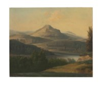 An extensive landscape with a river and mountain beyond