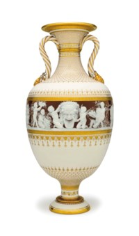 A MINTONS PATE-SUR-PATE CHOCOLATE-BROWN AND IVORY-GROUND VASE