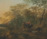 An Italianate landscape with a shepherdess and a drover