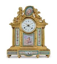 A LOUIS XVI ORMOLU AND SEVRES PORCELAIN MANTEL CLOCK