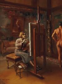 Portrait of Huguette Clark, Full-length, at her easel