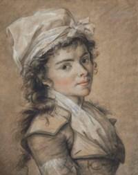 Portrait de femme en buste, portant une coiffe