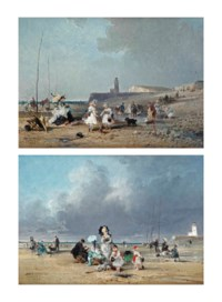 Children playing on the beach, Treport; and Families enjoying a day at the beach, Treport