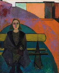 Femme au banc vert