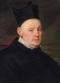 Portrait of a cleric, bust-length, in a black habit and hat