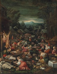 A village on market day with poultry and other livestock