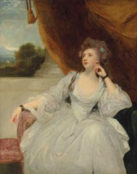 Portrait of Elizabeth Falconer, Mrs. Stanhope, as Contemplation, three-quarter-length, in a white satin dress, before a draped curtain