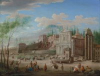 The Forum Romanum with the church of Santa Maria Liberatrice, the columns of the Temple of Castor and Pollux, and figures with horses and cattle