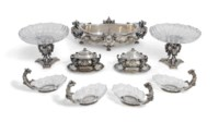 A FRENCH SILVER AND CUT-GLASS MOUNTED TABLE GARNITURE