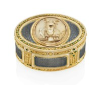 A LOUIS XV ENAMELLED GOLD SNUFF-BOX