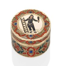 AN IMPORTANT SAXON GOLD AND HARDSTONE SNUFF-BOX