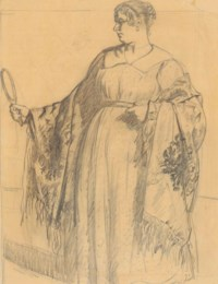 A merchant's wife with a hand mirror