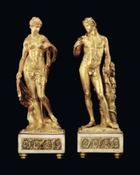 A PAIR OF GILT-BRONZE FIGURES OF BACCHUS AND AMPHITRITE