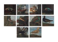 Studies of birds in landscape settings: A waxwing (Bombycilla); A common chaffinch (Fringilla coelebs); A great grey shrike (Lanius excubitor); A common kingfisher (Alcedo atthis); A house sparrow (Passer domesticus); A common redstart (Phoenicurus phoenicurus); A European roller (Coracias garrulus); A ruff (Philomachus pugnax); A common starling (Sturnus vulgaris); and A great snipe (gallingo media)