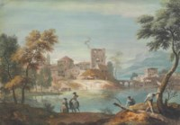 A town on a lake, with two horsemen and a woodcutter on the near bank