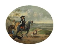 An elegant man, traditionally identified as Charles II, on horseback with his hunting party and dogs, Westminster and Old Saint Paul's beyond