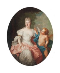 Portrait of a lady, as Venus, three-quarter-length, in a white dress with a pink wrap, with Cupid, in a wooded landscape