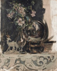Still life of flowers, a statue and a globe on a mantelpiece