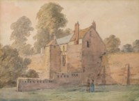 Figures before a house in Yorkshire