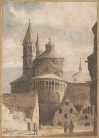 The Sankt Aposteln basilica, Cologne, seen from the North (recto); A partial study of the same (verso)