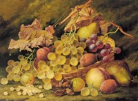 Grapes, plums, white currants and a peach, with a basket