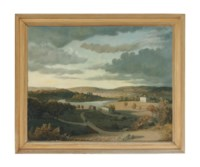 A river landscape with a country house and a farm