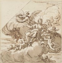 Allegory of Plenty enthroned in the clouds with putti