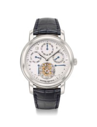Vacheron Constantin. An extremely fine, rare and highly complicated platinum limited edition perpetual calendar wristwatch with four barrels movement, 250 hours power reserve, tourbillon, Certificate and box