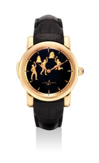ULYSSE NARDIN. A VERY FINE AND RARE 18K PINK GOLD LIMITED EDITION MINUTE REPEATING WRISTWATCH WITH THREE AUTOMATON JACQUEMARTS SCENE