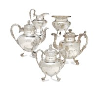 AN EARLY AMERICAN SILVER FOUR-PIECE TEA SERVICE,