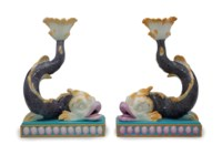 TWO WEDGWOOD MAJOLICA DOLPHIN-FORM CANDLESTICKS