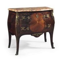 A FRENCH ORMOLU-MOUNTED KINGWOOD AND BOIS SATINE COMMODE