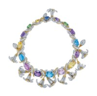 A MULTI-GEM, GOLD AND PLATINUM 'JASMIN' NECKLACE, BY JEAN SCHLUMBERGER, TIFFANY & CO.