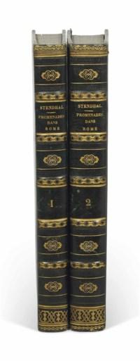 STENDHAL (1783-1842). Promenades dans Rome. Paris: Delaunay, 1829. 2 volumes in-8 (207 x 127 mm). Deux frontispices (Saint-Pierre de Rome et la colonne Trajane) et le plan dépliant en deux états. (Exemplaire lavé.) Reliure de l'époque, demi-veau vert à coins, dos à nerfs ornés de fers dorés, tranches marbrées, étuis.