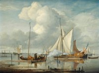 Ships saluting on the Nieuwe Maas, with Rotterdam in the distance