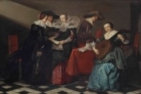 An interior with an elegant company making music and singing