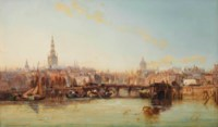 A view of the Damrak with the townhall, the Nieuwe Kerk and the Oude Kerk, Amsterdam