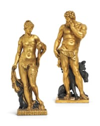 A PAIR OF LARGE PARCEL-GILT BRONZE FIGURES OF AMPHITRITE AND PLUTO