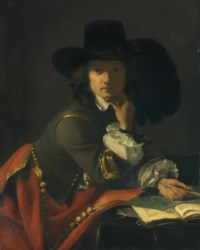 Portrait of a gentleman, half-length, seated at a draped table, in a broadbrimmed, plumed hat and a gold-embroidered doublet and mantle, holding a crayon with a sheet of drawing, a copy of the Funerali Antichi, and a sealed letter