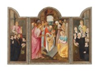A triptych: central panel: The Raising of Lazarus; the wings: on the left, a male donor, kneeling, with his sons, presented by Saint Jacob; and on the right, the donor's wife, kneeling, with her daughters, presented by Saint Catherine