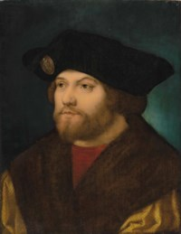 Portrait of a gentleman, traditionally identified as Damião de Góis (1502-1574), bust-length, in a gold fur-lined overgown and a black cap with an enseigne of Aequitas