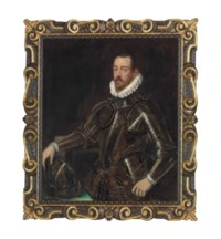 Portrait of a gentleman, three-quarter-length, in a suit of armour etched with gold, his right hand resting on his helmet