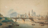 View of the Kremlin and Moskvoretsky bridge from the Moscow river embankment
