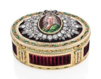 A LOUIS XVI JEWELLED ENAMELLED GOLD PRESENTATION SNUFF-BOX