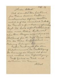 EINSTEIN, Albert. Autograph correspondence card signed ('Albert') to his friend Albert Karr, Huberlandstrasse 5, Berlin, 17 October 1919.