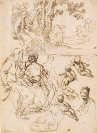 Studies for a Rest on the Flight into Egypt, a study of the same in a landscape setting and further studies of the Virgin, the Christ Child and a cherub (recto); Rapid figure studies (verso)