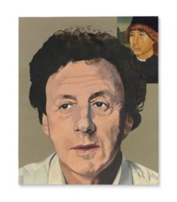 Leslie Waddington with Portrait of a Young Man by Hans Memling
