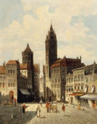 A capriccio view of Rathausplatz, Laufenburg