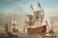 A large First Rate, thought to be the Royal William (formerly the Prince), lying at her anchorage, surrounded by other vessels and preparing to receive a distinguished - possibly Royal - visitor